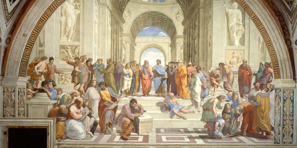 The School of Athens by Raffaello Sanzio da Urbino 1000x500