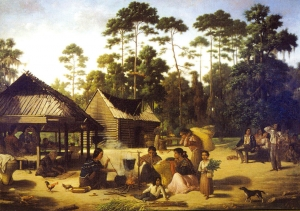 Choctaw Village by Francois Bernard, 1869