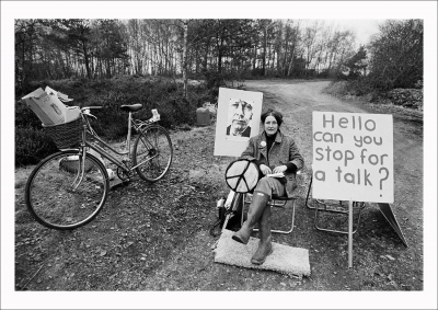 A picket mounted by the Women's Peace Camp at Greenham Common, 1982.