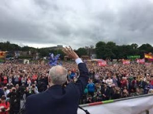 Jeremy Corbyn addresses the huge crowd at the 2017 Durham Miners' Gala