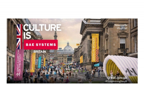 """Culture is BAE Systems Britain"", appropriated government overseas advertising image, Stephen Pritchard, 2018."