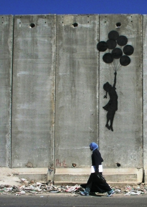 west bank wall balloon girl